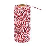 Baumwolle Bindfaden,ATPWONZ 100M Baumwolle Schnur, Bastelschnur, Baumwolle Seil zum Verpacken, Dekorieren, Basteln,Aufbinden,DIY usw. (Rot und Weiß)
