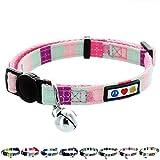Pawtitas weiches verstellbares Katzenhalsband für Haustiere mit Sicherheitsschnalle und abnehmbarer Klinge Blaugrün / Rosa / Lila