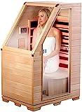 newgen medicals Sitzsauna für Zuhause: Kompakte Infrarot-Sitzsauna aus Hemlock-Holz, 760 W, 0,62 m² (Infrarot Saunen)