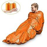 Magicfun Notfall Biwak-Sack - Survival Schlafsack – Kälteschutz –Thermo-Isolierung Leuchtend Orange Außenseite, Reflektierende Innenseite-2 Stück