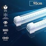 Led Unterbauleuchte Küche Lichtleiste Röhre T8 LED Leuchtstoffröhre 90cm 14W 1400lm 4000K Neutralweiss Transparente Abdeckung