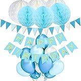 TopDeko Geburtstag Dekoration Set, Geburtstag Deko Happy Birthday Dekoration mit 9pcs Wabenbälle, 30pcs Große Geperlte Ballons, 1 Set Happy Birthday Banner, 1 Set Wimpel Banner (Schwarz)