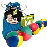 Mister M  Jonglier Bälle  Das Ultimative 5 Ball Jonglier Set mit Gratis online Lern Video im Jute Sack (Blau, 5 Bälle)