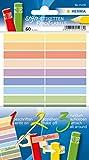 Herma 15238 Stifte-Etiketten (aus Papier, 10 x 46 mm, permanent selbstklebend, für Kinder) 60 Stück, mehrere Farben, Namensaufkleber f. Buntstifte