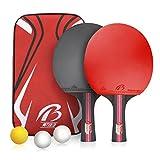 Weeygo Tischtennis-Set, 2 Premium Tischtennisschläger und 3 Tischtennis-Bälle mit Einer Tasche für Anfänger, Familien und Profis