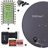 DUR-line MDA 80 Anthrazit - Digitale 16 Teilnehmer Satellitenschüssel Komplett-Anlage mit premium Multischalter und LNB [Camping, Astra 19,2°, DVB-S/S2, Full HD, 4K, 3D]