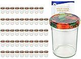 MamboCat 50er Set Sturzgläser 230 ml Hoch Deckelfarbe Obst Dekor To 66 inkl. Diamant Gelierzauber Rezeptheft, Marmeladengläser, Einmachgläser, Einweckgläser, Gläser