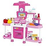 Drfeify Pretend Tool Kit, Kinder Spielen Rollensimulation Küche Kochen Spielzeug Mädchen leichte Musik Geschirr Sets( Pink)