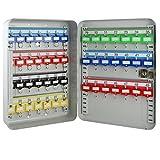 HMF 130497 Schlüsselkasten 49 Haken verstellbare Hakenleisten, 32,0 x 23,0 x 7,5 cm , lichtgrau