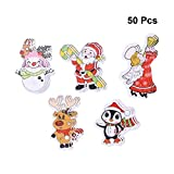 Healifty Holzknöpfe Schneemann Weihnachtsmann Rentier Gedruckt Muster Knopf mit 2 Löcher zum DIY Handwerk Basteln Stricken Häkeln 50 Stück (Mischmuster)