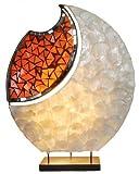 Lampe YOKO - Deko-Leuchte, Stimmungsleuchte, Tisch-Lampe, oval, natur, Glas-Mosaik-Steine