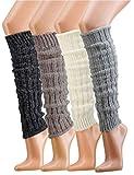 Krautwear Damen Mädchen 1 Paar Beinwärmer Stulpen Legwarmers Grobstrickstulpen mit Alpakawolle Alpaka Flauschig 30cm 80er Schwarz Weiß Grau Beige (anthrazit)