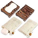 PAMIYO 2 Stück Seifenschale Holz Dusche,2 Stück Seifensäckchen,Natürliche Bambus Seifenkiste,Bio Seifensack mit Kordel, Verhindert Seifenreste auf Ihrer Waschbeckenablage Für Bad Waschbecken