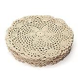 KING DO WAY 12 PCS Deckchen Spitze Haken Rund aus Baumwolle DekorationTisch Tee-Küche Hand Crocheted Doily beige 20 cm