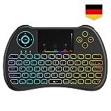 Tecboss [Deutsches Layout] Mini Tastatur Wireless, Mini Tastatur Kabellos mit Touchpad, Mini Tastatur Beleuchtet für Smart TV Fernbedienung, HTPC, IPTV, Android TV-Box, X Box 360, PS3, PC