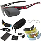 ONVAYA Sportbrille UV400 13 Teilig Zubehör Set in Gürteltasche Sonnenbrille mit 5 Wechselgläsern, Rot, One Size