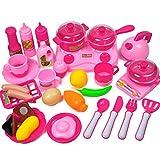 ANNA SHOP 33 Stück Mädchen Küchenspielzeug für Kinderküche Kochgeschirr Kochset Kinder