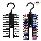 2 stücke Krawattenhalter, Gusspower Rutschfester Krawattenbügel, Perfekte Krawatten Aufbewahrung / Schlipsbügel / Schlipshalter für den Kleiderhaken für bis zu 20 Krawatten