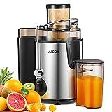 Entsafter Aicok Zentrifugaler Entsafter, Weit-Mund Edelstahl Entsafter, 3 Geschwindigkeiten Für Obst und Gemüse, mit Rutschfesten Gummifüßen, BPA-Freier Saftauffangbehälter und Reinigungsbürste