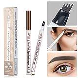 Flüssige Augenbrauenstift, MOGOI Lang Anhaltende Wasserdichte Skizze Enhancer Augenbrauen Tattoo-Stift mit 4 Feinen Gabel Spitze für Professionelle Augenbrauen Make-up(Braun)