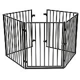 Kaminschutzgitter Absperrgitter - CCLIFE Türschutzgitter Auch Als Raumteiler Absperrgitter Laufgitter Für Kinder-sicherung Faltbar Metall 5 Elemente Inkl. Tür