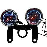 Kkmoon Universal Motorrad-Drehzahlmesser, LED, 13000U/Min. + Geschwindigkeitsmesser mit Halterung