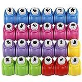 Kesote Papierstanzer Set, 24 Stück Stanzwerkzeug für Kinder DIY Grußkarten Fotoalbum Scrapbook