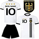 Deutschland Trikot + Hose mit GRATIS Wunschname + Nummer + Wappen Typ #D 2017 im EM / WM weiss - Geschenke für Kinder,Jungen,Baby,.. Fußball T-Shirt personalisiert als Weihnachtsgeschenk