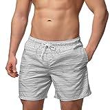 Occulto Herren Männer Badehose in vielen Farben | Badeshort | Bermuda Shorts | Beachshort | Slim Fit | Schwimmhose | Boardshort | Jungen (M, Grau)