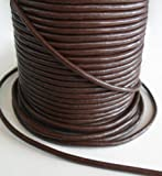 Auroris 10 m Rolle Lederband, rund Durchmesser 3 mm, braun