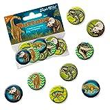 8 Mini Button * DINOSAURIER & T-REX * mit Anstecknadel vom Lutz Mauder Verlag // 67246 // Kinder Geburtstag Mitgebsel Geschenk Party Buttons Set