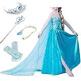 Timesun Mädchen Prinzessin Schneeflocke Süßer Ausschnitt Kleid Kostüme mit Diadem, Handschuhen, Zauberstab und Zopf, Gr. 98/140 (110 ( Körpergröße 110cm ), #01 kleid mit 4 Zubehör)
