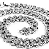 RUGGED STEEL Herren Panzerkette Edelstahl massiv XXL Halskette breit & schwer (15mm/200g) Karabinerverschluss Farbe Silber hochglanzpoliert (60)