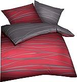 Kaeppel Wende- Bettwäsche 'Motion' Mako-Satin rubinrot Größe 135x200 cm (80x80 cm)