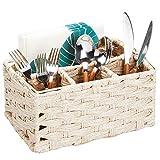 mDesign Besteckkorb mit 4 Fächern - dekorativer Besteckhalter für Küche, Garten oder Picknick - zur übersichtlichen Aufbewahrung von Besteck, Servietten und Gewürzen - cremefarben/beige