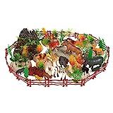 100-Pack Kunststoff Zoo Tier Spielzeug - Zoo Tierfiguren Set Kleine Zoo Tierfiguren mit gefälschten Requisiten Laub Fechten und Felsen Inklusive Tragetasche - Box Abmessungen: 10,5 x 6,7 x 8,2 Zoll