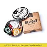 Belfort 16 hochwertige Plektren für Gitarre in edler Geschenk Box  Gitarren Plektrum aus extrem robustem Celluloid  4 Stärken: 0.46-1.20mm | BONUS: Gratis Ebook