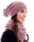 Winter Kombi Set aus Winter Schal und passender Strickmütze / Beanie mit Pompon / versch. Designs, Winter Set:Altrosa
