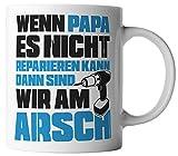 vanVerden Tasse Papa Reparieren Arsch Vatertag Dad Geschenk inkl. Geschenkkarte, Farbe:Weiß/Blau