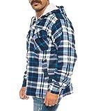 Benk Winter Thermohemd mit Kapuze Holzfällerhemd gefüttert Arbeitsjacke Flanellhemd (Blau/Weiß, XL)