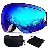 Skibrille, Ski Snowboardbrille Brillenträger Schneebrille Verspiegelt- Für Skibrillen mit Anti-Nebel UV-Schutz, Winter Schnee Sport, Austauschbar Sphärische Doppelte Linse für Männer Frauen(Blau)