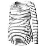 Mama Umstandsmode Damen Langarmshirt Umstands-Bluse Umstandsshirt Stillshirt Schwangerschaft Streifen-Drucken Oberteile Tops Grau.
