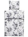 4-Teilig Microfaser Seersucker Bettwäsche Elvira weiss, schwarz mit Reißverschluss 2x 135x200 Bettbezug + 2x 80x80 Kissenbezug , Öko-Tex Standart 100