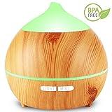 Aroma Diffuser, Xmist 250ml Holzmaserung Aromatherapie Diffuser Ultraschall Luftbefeuchter Öle Diffusor Cool Nebel Mit Niedrig Wasser Automatische Abschaltung, 7 Farbe LED Perfekt für Zuhause Yoga Spa