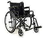 MedicalPharm Kinderwagen, Rollstuhl, Autospinta, Rollstuhl, Karosserie, Kinderwagenaufsatz für Anzianer und Disabili, Ablagekorb mit Trittbrett und abwaschbarer Sitzfläche, Modell B schwarz
