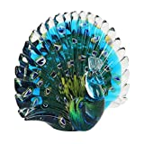 Briefbeschwerer, Pfauen-Form, aus Glas