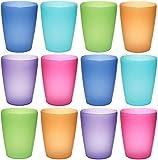 idea-station NEO Kunststoff-Becher mehrweg 250 ml 12 Stück, bunt, farbig, stapelbar auch als Wasser-Gläser, Cocktail-Gläser einsetzbar, Party-Becher, Plastik-Becher sind bruchsicher, unzerbrechlich