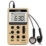 Tivdio V-112 Tragbare Radio Mini Taschenradio AM FM Empfänger Portables Radio Personal Wiederaufladbares Radio mit Kopfhörer (Golden)