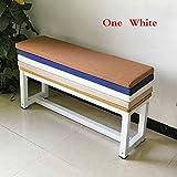 qwqqaq Volltonfarbe Sitzpolsterung Der Sitzbank,einfache Nicht-Slip Longchair Pad Gummiband Faltbar Waschbar Hocker-pad Erkerfenster Kissen-weiß 180 * 30 * 5cm(71x12x2in)