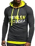LEIF NELSON Gym Herren Fitness Sweatshirt mit Kapuze Hoodie Langarm Trainingsshirt T-Shirt Training LN06278; Größe XL, Anthrazit-Gelb